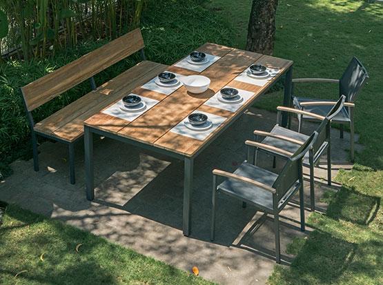 Gartenmöbel Sitzgruppe Alex mit Bank, Tisch und Sesseln