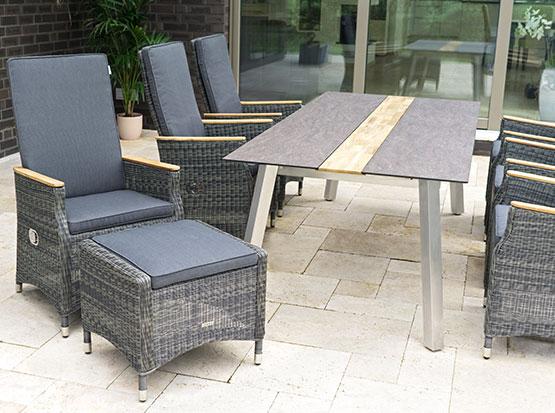 Garten-Sitzgruppe Tisch Linax, Sessel Novus