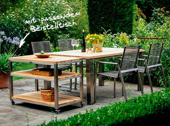 Tisch Piero, Stapel- und Swingstuhl Atlanta Rope, Beistelltisch Piazza