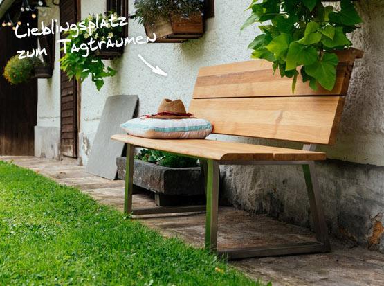 Gartenbank Pisa, recyceltes Teakholz mt Edelstahl