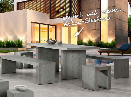 Tischgruppe Rockall aus Beton-Glasfaser