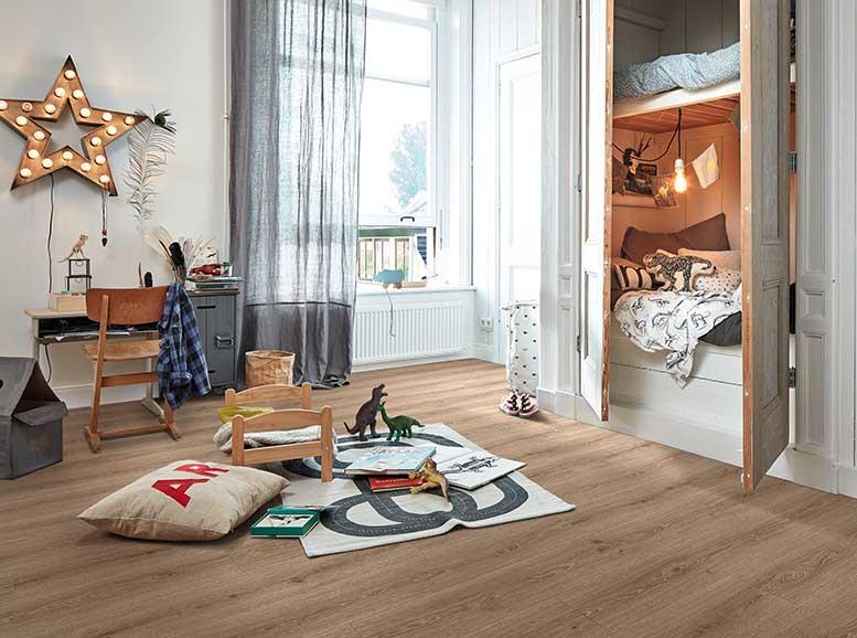Vinylboden ohne Vinyl, MeisterDesign.flex, Holznachbildung Stieleiche mittelbraun