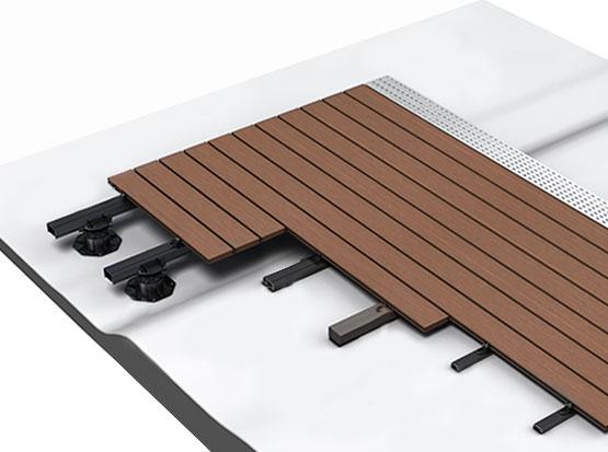 Schemazeichnung Terrassenbau mit Holzdielen