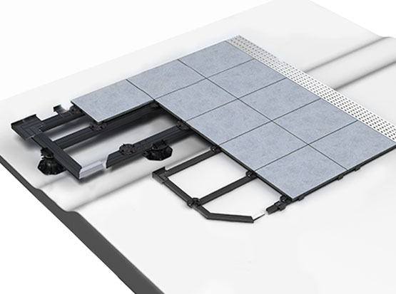 Schemazeichnung Terrassenbau mit Keramikplatten