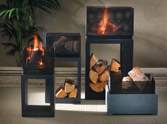 Feuerschalen mit Holzfach aus Clayfibre, grafit