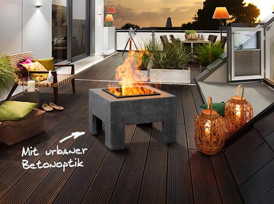 Feuertisch aus Clayfibre, eckig, grafit