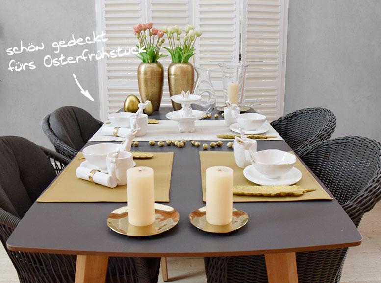 Tischdekoration fürs Osterfrühstück und die Osterzeit mit Hasenetagere, Hasenbecher, Müslischalen