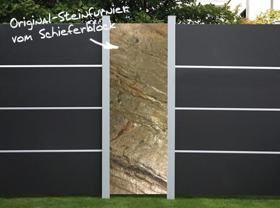 HPL-Sichtschutzzaun mit Steinfurnier-Element