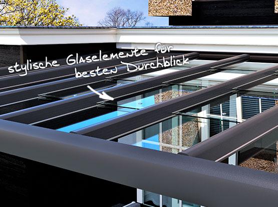Suroline Alu-Überdachung mit Glaselementen zum Verschieben