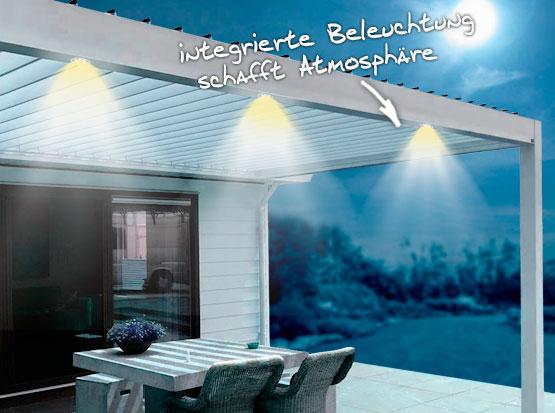 Alu-Überdachung Lamelloline mit integrierter LED-Beleuchtung