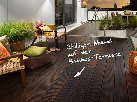 Bambus-Terrasse dunkel, System-Bodendiele, einseitig glatt, einseitig genutet