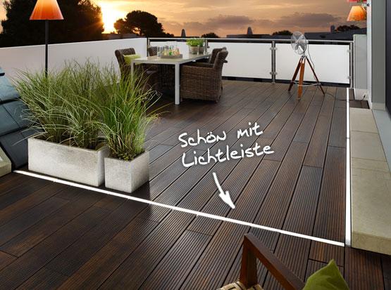 Bambus-Terrasse mit Terrassendielen im XL-Format 22 x 180 x 1850 mm