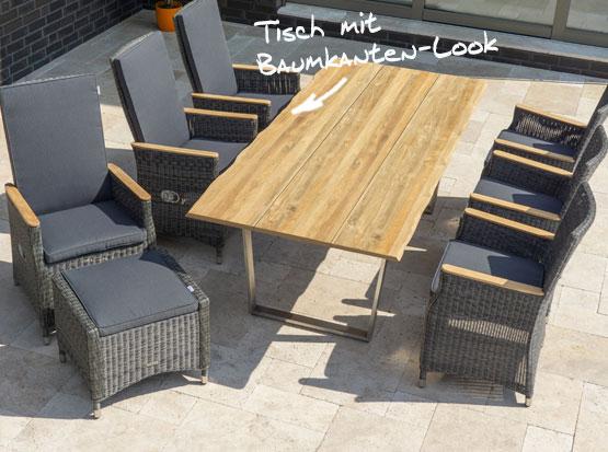 Gartentisch Unyx mit Baunkanten-Look, Stühle Novus