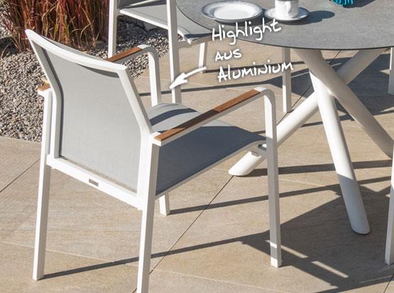 """Gartenstuhl """"Bee"""" aus Aluminium in weiß"""