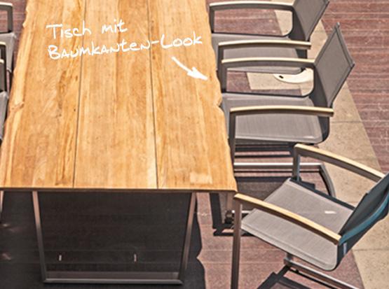 Gartentisch Unys mit Baumkanten-Look aus recyceltem Teakholz