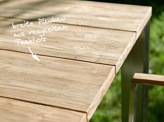 Gartentisch Piero aus ressourcenschonendem recycelten Teakholz