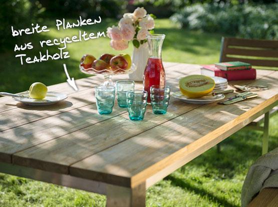 Gartentisch Piero aus recyltem Teakholz mit Edelstahlgestell