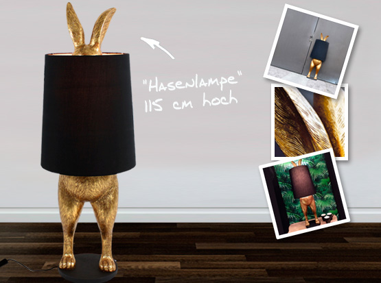 Hasenlampe Hiding Rabbit, Stehlampe in gold