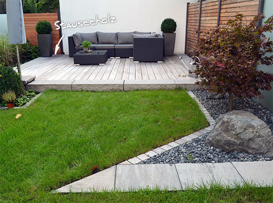 Referenz: Terrassenbau mit Stauseeholz Walaba, graue Patina