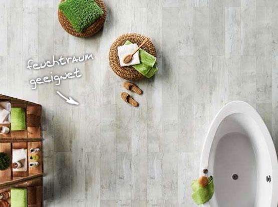 Mineraldesignboden JAVA, solo weiß im Badezimmer