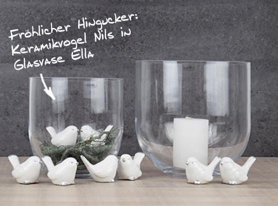 Glasvase, Glas-Windlicht Ella mit Keramikvogel Nils