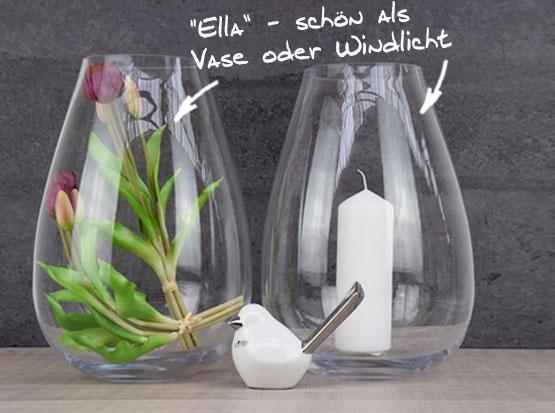 Ella - schön als Glasvase oder Windlicht, oval