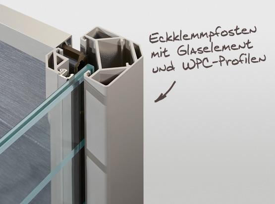 Sichtschutzsystem mit Ecklemmpfosten