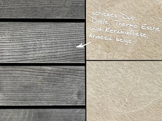 keramische Terrassenplatte Ardesia beige mit Terrassendiele Thermo Esche