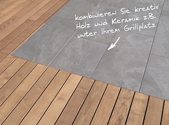 Kombination von Holz und Keramik Terrassenbelägen