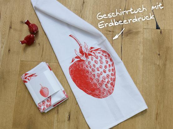 Geschirrtuch mit Erdbeer-Motiv