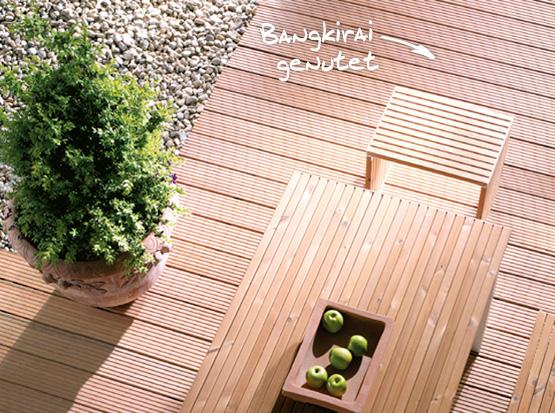 Terrassendielen Bangkirai, genutet