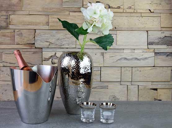 Sektkühler, Metallvase, Glas-Teelicht mit Silberrand
