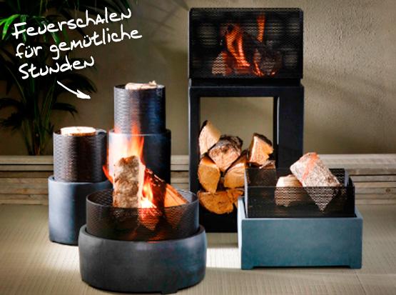 Feuerschalen rund und eckig mit Holzfach aus Clayfibre