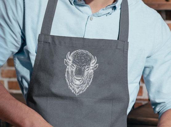 Grill- und Küchenschürze mit Motiv: Büffel