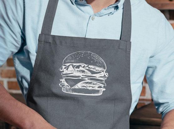 """Grill- und Küchenschürze mit Aufdruck """"Burger"""""""