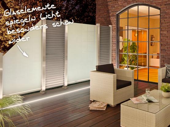 Sichtschutz mit satinierten Glaselementen und Rhombus Metallprofilen
