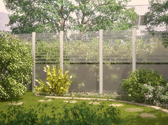Sichtschutz aus Glas, System Beta mit klaren und satinierten Zaunfeldern