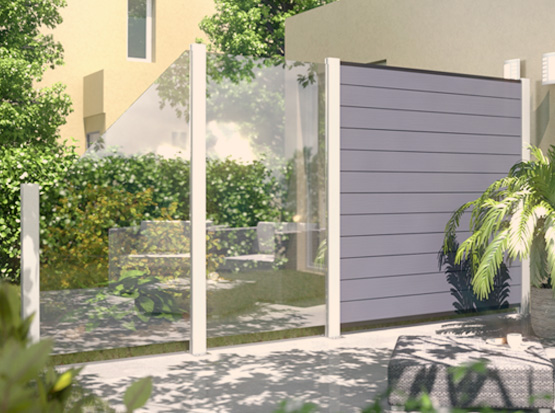 Sichtschutz-System Glas Klar mit System Alu