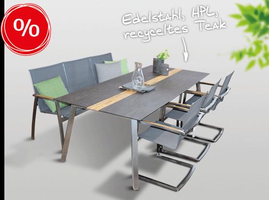 Gartenmöbel reduziert: Tisch Linax aus Edelstahl, recyceltem Teak, HPL