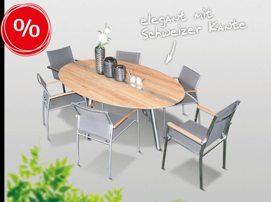 Gartenmöbel reduziert: Tisch Trix mit Schweizer Kante