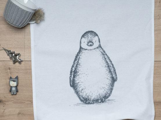 Geschirrtuch weiß, mit Motiv Pinguin