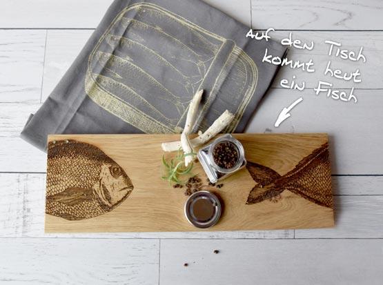 Küchenbrett mit Fischgravur