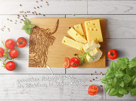 Holz-Küchenbrett, Motiv Büffel
