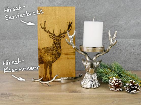 Weihnachtsdeko Hirschleuchter, Hirsch-Servierbrett