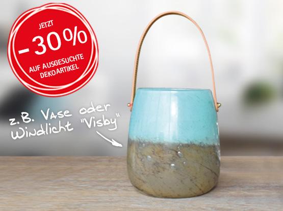 Wohnaccessoires reduziert: z. B. Vase oder WindlichtVisby