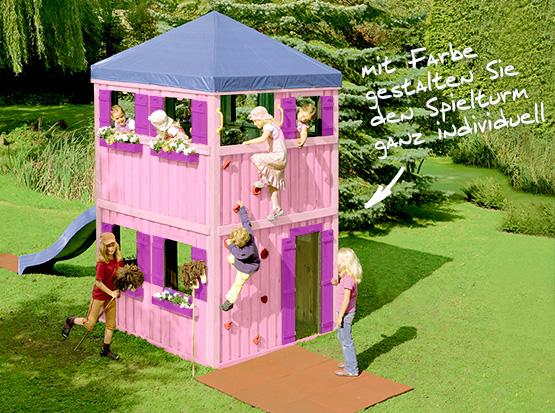 Brügmann Traumgarten Spielturm aus Holz farbig gestalten