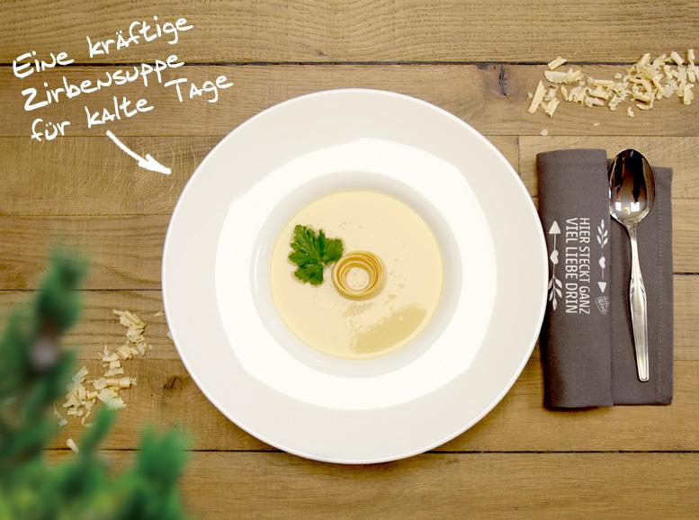 Rezept: Zirbensuppe mit Stoffserviette