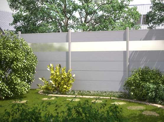 Sichtschutzzaun WPC XL, grau