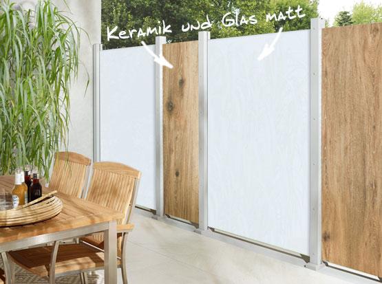 Sichtschutz Keramik mit Holzoptik und Glas matt
