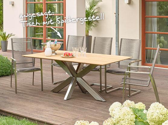 Tisch Marbella mit Spider-Gestell und Swingstuhl